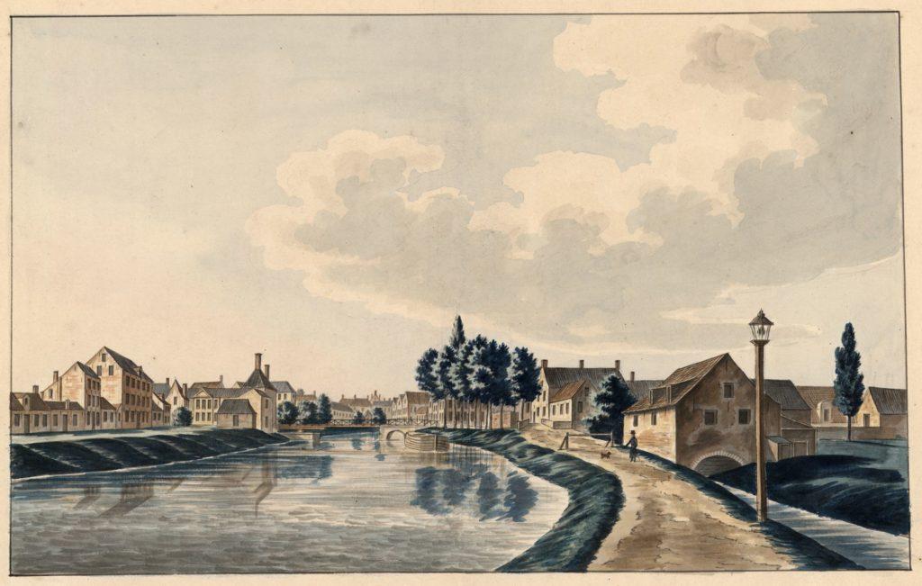 Gezicht op de Minnemeers, de Minnemeersbrug en de Reke - Jean-Baptiste Joseph Wynantz - © Stad Gent, De Zwarte Doos, Stadsarchief.